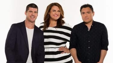 Off the field and on air: Jonathan Brown with Nova breakfast co-hosts Chrissie Swan and Sam Pang.