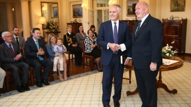 Malcolm Turnbull is sworn in as Prime Minister by Governor-General Sir Peter Cosgrove on September 15. Turnbull has now effectively told Sir Peter that his knighthood is inappropriate in modern Australia.