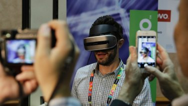 A prototype Lenovo VR headset at CES 2017 that tracks head movements using cameras.