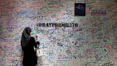 A message board in memory of passengers on board MH370  in Malaysia.