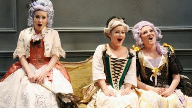 Pinchgut Opera's Alexandra Oomens (Isabelle), Jessica Aszodi (Jacinte) and Celeste Lazarenko (Leonore), in L'Amant Jaloux.