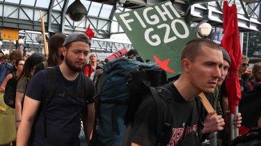G20 protesters arrive in Hamburg.