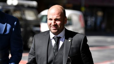 George Calombaris arrives at the Downing Centre Local Court on Friday