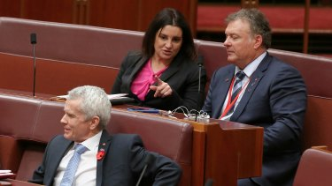 Independent Senator Jacqui Lambie (centre) was the only crossbencher not to support the bill.