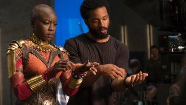 Danai Gurira (Okoye) on set with director Ryan Coogler.