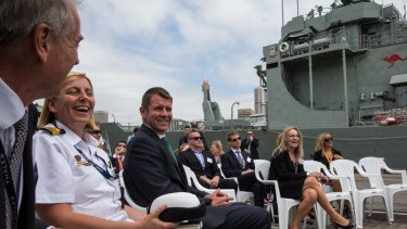 Premier Mike Baird at the  Garden Island naval base on Wednesday.