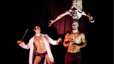 Sydney Fringe Festival - Elixir - Head First Acrobats Thomas Gorham, Cal Harris and Rowan Thomas