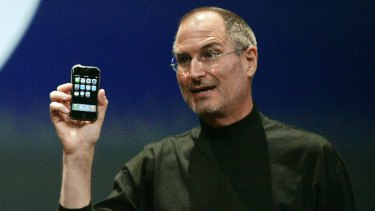 Success: Steve Jobs launches the iPhone in 2007.
