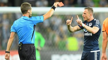 Raw deal?: Victory's Besart Berisha is sent off controversially.