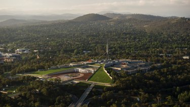 An aerial view of Parliament House in Canberra. The capital city is the subject of jibes from critics.