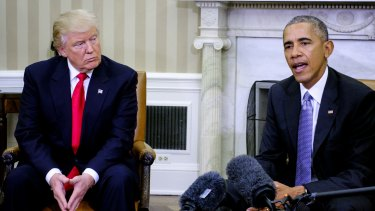 US President-elect Donald Trump visits US President Barack Obama in the Oval Office of the White House last week.