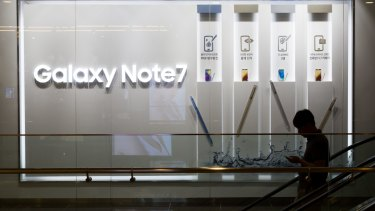 Advertisements for the Galaxy Note7, which is being recalled.