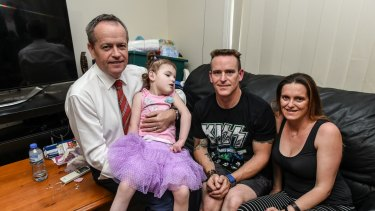 Bill Shorten with Trevor and Cherie Dell and their daughter Abbey.