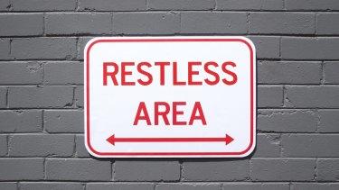 """Restless Area"": street art by Sydney street artist Michael Pederson."