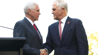 US Vice-President Mike Pence and Malcolm Turnbull shake hands during a press conference at Kirribilli House.
