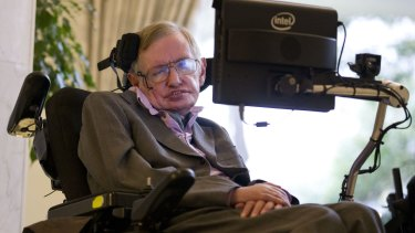 Stephen Hawking at a press conference last year to announce new communication technology.