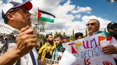 A rally in front of the US embassy in Canberra to protest Donald Trump's Jerusalem ruling.