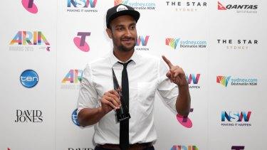 Triple J breakfast host Matt Okine after winning the ARIA for best comedy release.
