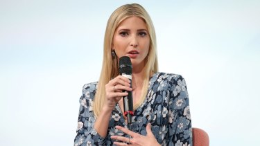 BERLIN, GERMANY - APRIL 25: Ivanka Trump, daughter of U.S. President Donald Trump, is seen on stage of the W20 conference on April 25, 2017 in Berlin, Germany. The conference, part of a series of events in connection with Germany's leadership of the G20 group of nations this year, focuses on women's empowerment, especially through entrepreneurship and the digital economy. (Photo by Sean Gallup/Getty Images)