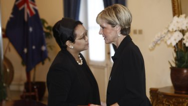 Australian Foreign Minister Julie Bishop meets Indonesian Minister of Foreign Affairs Retno Marsudi in Jakarta on Monday.