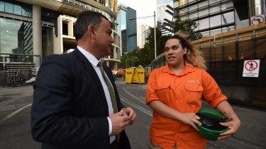 NSW Minister for Skills John Barilaro talks with Desiree Owens, an apprentice carpenter.