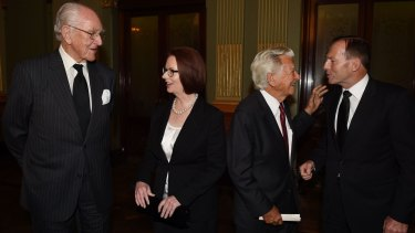 Former prime ministers Malcolm Fraser, Julia Gillard, Bob Hawke and current Prime Minister Tony Abbott mingle following the memorial service for Gough Whitlam.
