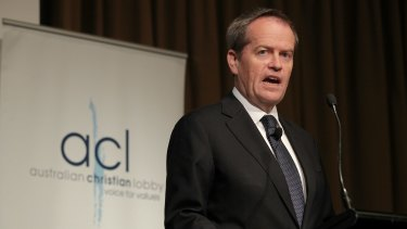 """I believe in God and I believe in marriage equality"": Opposition Leader Bill Shorten addresses the Australian Christian Lobby."