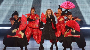 Madonna performs the first date of her Rebel Heart Australian tour at Melbourne's Rod Laver Arena on March 12.