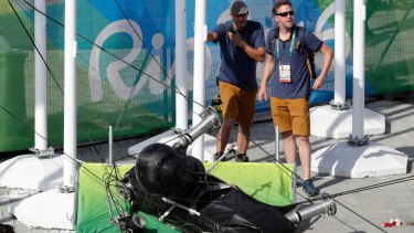 An overhead camera fell from wires suspending it over Olympic Park in Rio on Monday.