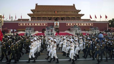 Chinese troops at Tiananmen ahead of the 70th anniversary of the end of World War II.
