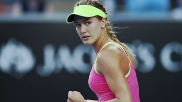Neon: Eugenie Bouchard  after her win over Kiki Bertens.
