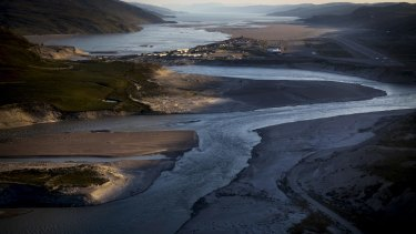 Kangerlussuaq, Greenland, seen from a helicopter in July.