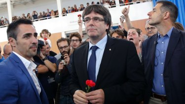 Catalan president Carles Puigdemont arrives at a sports centre in Sant Julia de Ramis, near Girona, Spain.