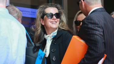 Kathy Jackson arrives at Melbourne Magistrates Court on Monday.