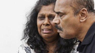 Myuran Sukamaran's parents, Raji and Sam, after saying goodbye to their son.