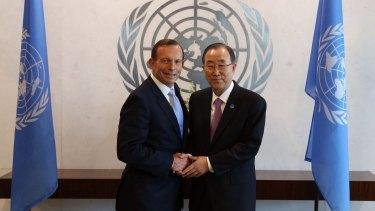 Prime Minister Tony Abbott with United Nations Secretary-General Ban Ki-moon in June 2014.