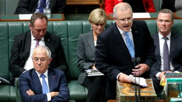 Prime Minister Malcolm Turnbull and Treasurer Scott Morrison during a feisty question time.