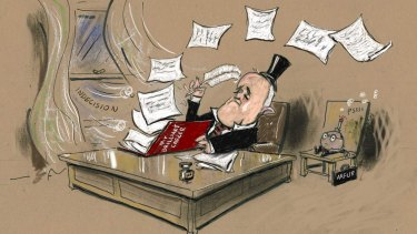 I do enjoy Moir's cartoons of Malcolm Turnbull as a toff, with his top hat perched perilously on his head, as in