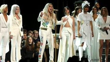 Kesha performs 'Praying' alongside Bebe Rexha, Cyndi Lauper, Camila Cabello, Andra Day and Julia Michaels.