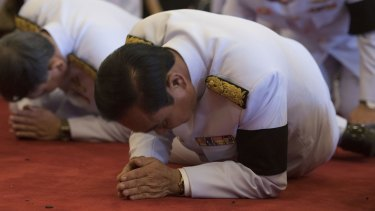 Thai Prime Minister Prayuth Chan-ocha attends a royal bathing ceremony at the Grand Palace in October.