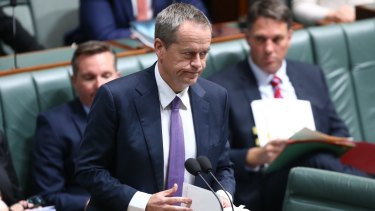 Opposition Leader Bill Shorten in question time on Wednesday.