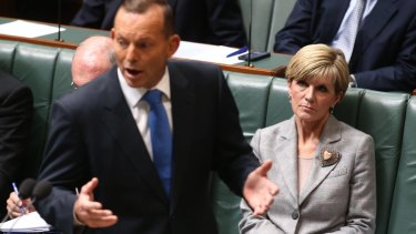 Prime Minister Tony Abbott and Foreign Affairs minister Julie Bishop during question time on Monday.