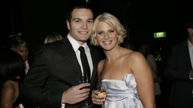Jones with AFL player Marty Pask, then her fiance, in 2008.