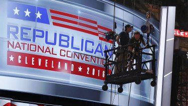 The main stage on the convention floor at the Quicken Loans Arena in downtown Cleveland, Ohio, is prepared for the upcoming Republican National Convention.