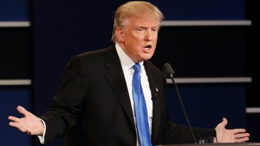 US presidential candidate Donald Trump is frequently to the left of Hillary Clinton.
