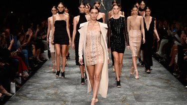 Bella Hadid leads the models as they walk the runway during the Misha show at Mercedes-Benz Fashion Week Resort 17 Collections at Carriageworks.