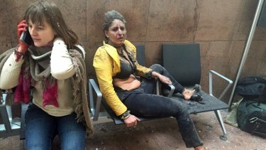 Nidhi Chaphaker, right, and an unidentified woman photographed by Georgian Public Broadcast's Ketevan Kardava immediately after the terrorist attack on Brussels Airport in Belgium.