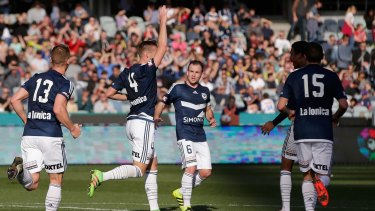 Nick Ansell celebrates his goal.