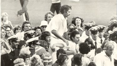 Dennis Lillee is chaired off the MCG after a centenary-Test winning performance.
