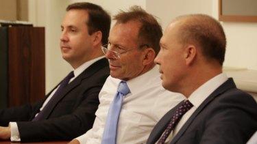 Trade Minister Steve Ciobo, former prime minister Tony Abbott and Immigration Minister Peter Dutton.